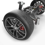 Car disc brake with red caliper, and back suspension on white. 3D illustration. Car disc brake with red caliper, and back suspension on white background. 3D Royalty Free Stock Photography