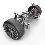 Car disc brake with red caliper, and back suspension on white. 3D illustration Stock Images