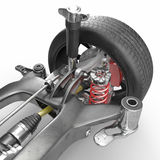 Car disc brake with red caliper, and back suspension on white. 3D illustration Stock Photography