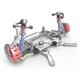 Car disc brake with red caliper, and front suspension on white. 3D illustration Royalty Free Stock Photo
