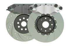 Car discs brake and caliper. 3D rendering Royalty Free Stock Image