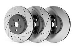Car discs brake rotors, 3D rendering. Car discs brake rotors, drilled, slotted, non-drilled, 3D rendering on white background Royalty Free Stock Photo