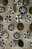 Car disks in concrete Royalty Free Stock Image
