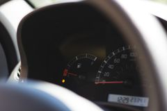 Car display showing low on fuel royalty free stock photos