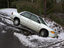 Car in the ditch Royalty Free Stock Photos