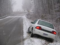 Car In The Ditch. A white car that has slid into the ditch on the first snowfall of the year Royalty Free Stock Photos
