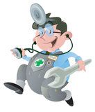 Car Doctor. Vector illustration of a Doctor who specialises in the Automotive Industry Stock Photography