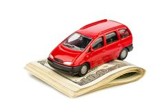 Car on dollar bills Royalty Free Stock Images