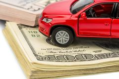 Car on dollar bills Stock Photography