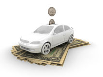 Car on dollar bills. And coins Royalty Free Stock Photography