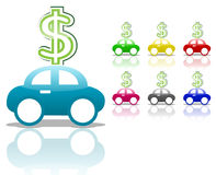 Car with dollar sign Royalty Free Stock Photos