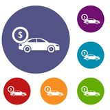 Car and dollar sign icons set. In flat circle reb, blue and green color for web Royalty Free Stock Photos