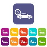 Car and dollar sign icons set. Vector illustration in flat style In colors red, blue, green and other Stock Images