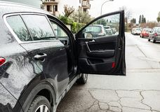 Car Door of Forgotten Open. Danger concept for car accidents royalty free stock image