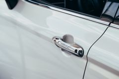 Car door handle.Black and white stock image