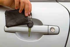 Car door handle and lock Royalty Free Stock Photos