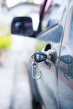 Car door and key Royalty Free Stock Photo