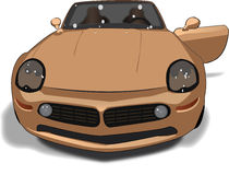Car drawing. Illustration of a beautiful tan color convertible car with open driver's door Stock Images
