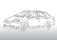 Car drawing. Hand draw illustration of a car Royalty Free Stock Photos