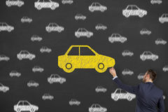 Car Drawing on Chalkboard. Working Conceptual Business Concept stock images
