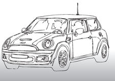 Car drawing mini. Hand draw illustration of a mini Stock Photography