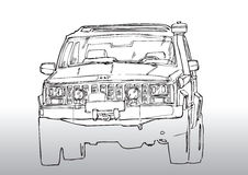 Car drawing truck. Hand draw illustration of a truck Stock Image