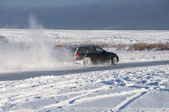 Car drift spray snow Stock Photos