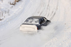 Car drift spray snow Stock Photo