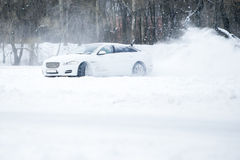 Car drift spray snow Royalty Free Stock Photography