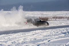 Car drift spray snow Stock Images