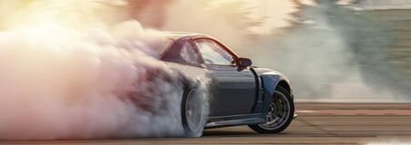 Free Car Drifting, Blurred  Image Diffusion Race Drift Car With Lots Of Smoke From Burning Tires On Speed Track Stock Images - 174050174