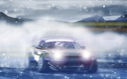 Car drifting, Blurred of image diffusion race drift car with lot royalty free stock photography