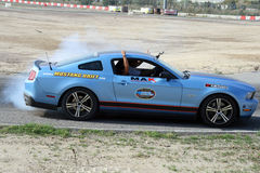 Car drifting. A competition of drifting at Super Car Roma auto show 2014 Stock Images