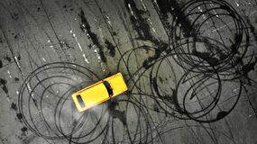 Car drifting. Professional driver drifts a yellow car on a parking lot. stock image