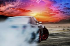 Car drifting on speed track Royalty Free Stock Photography