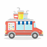 Car with drinks. Isolated truck with beverages on hot summer Royalty Free Stock Images
