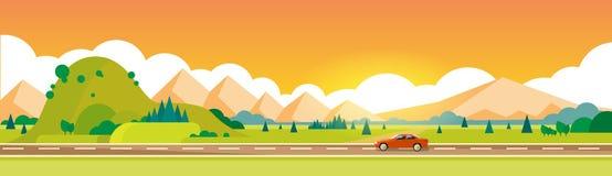 Car Drive Road Mountain Range Summer Landscape Horizontal Banner. Vector Illustration Stock Photo