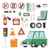 Car drive service elements concept with flat icons and mechanic equipment vector. Stock Photography