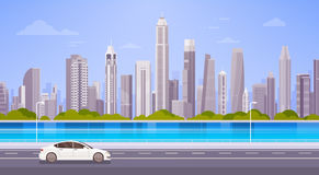 Car Drive Street Road Over City Skyscraper View Cityscape Background Skyline Panorama Royalty Free Stock Images