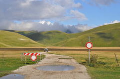 Car driven on a country road, Apennines landscapes Stock Photo