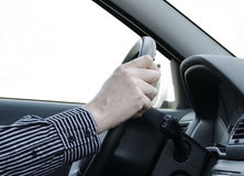 Car driver. With two hand on the steering wheel Royalty Free Stock Photography