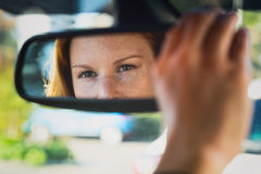 Car Driver Adjusting Mirror Stock Photos