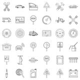 Car driver icons set, outline style Stock Photos