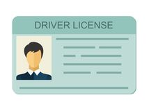 Car driver license identification with photo isolated on white background, driver license vehicle identity in flat style Royalty Free Stock Photo