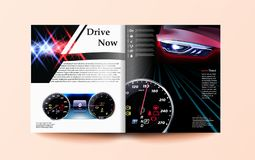 Car and driver magazine template. Speedometer and car. 3d illustration stock illustration