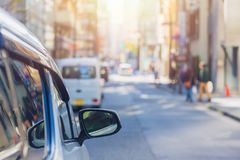 Car driver parking the city urban roadside. Car driver parking the city urban road view blur in the morning background stock images