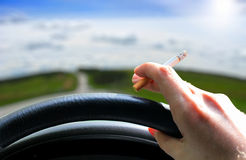 Car driver smoking Stock Image