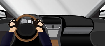 Car driver view from inside Royalty Free Stock Images