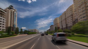 Car drives on street Traffic over the wide boulevards of Astana timelapse hyperlapse drivelapse in Kazakhstan stock video footage