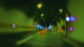 Car drivin on highway tunnel time lapse Looping. Car driving on highway tunnel looping high speed zoom stock video